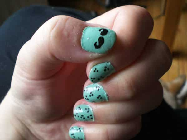 Light Blue Nails with a Mustache and Dots