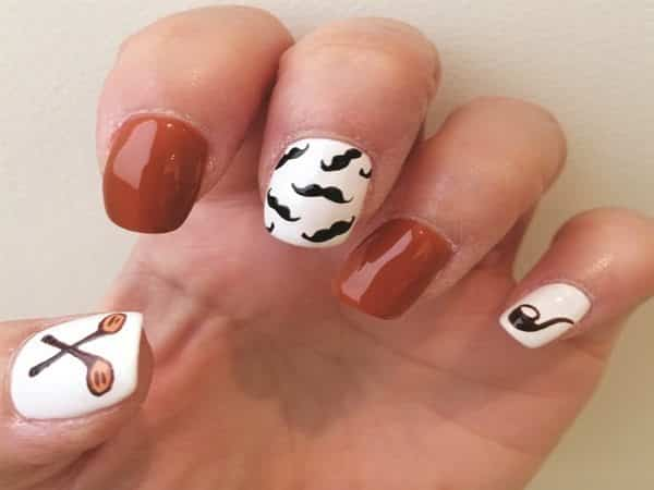 White and Brown Nails with Golf Clubs, Mustaches, and a Pipe