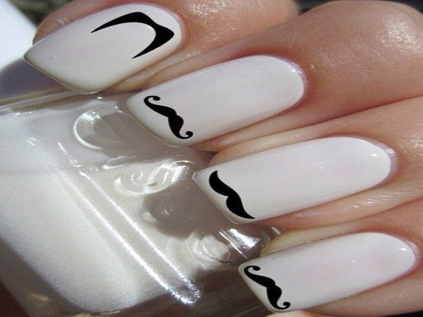 White Nails with Different Types of Mustaches