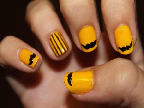 Yellow Nails with Stripes and Mustaches