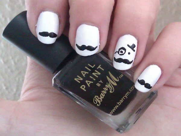 White Nails with Mustaches and a Face with Monocle and Hat