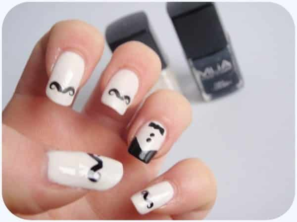 White Nails with Mustaches and a Tuxedo