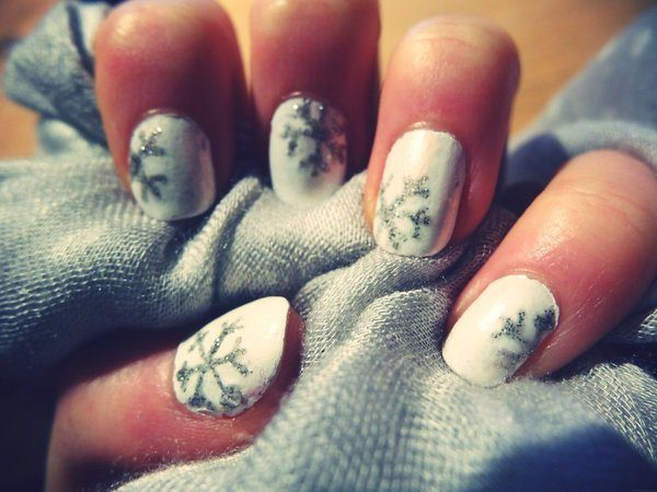 White Nails with Silver Glitter Snowflakes