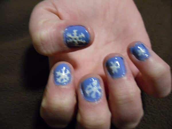 Periwinkle Blue Nails with Snowflakes