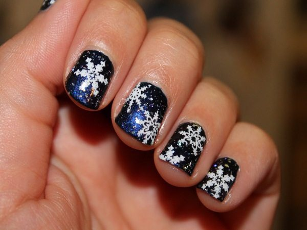 Navy Blue Glitter Nails with Snowflakes