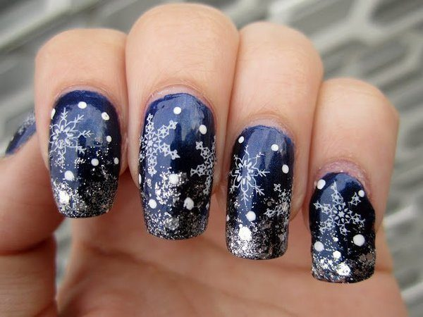 Navy Blue Nails with Silver Tips and Snowflakes