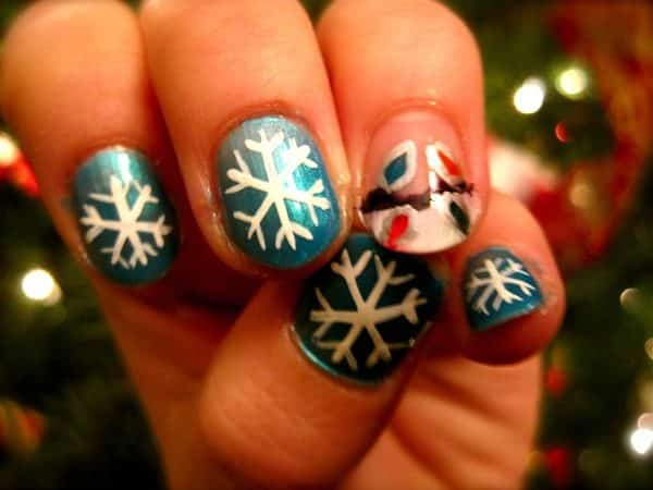 Dark Turquoise Nails with Snowflakes