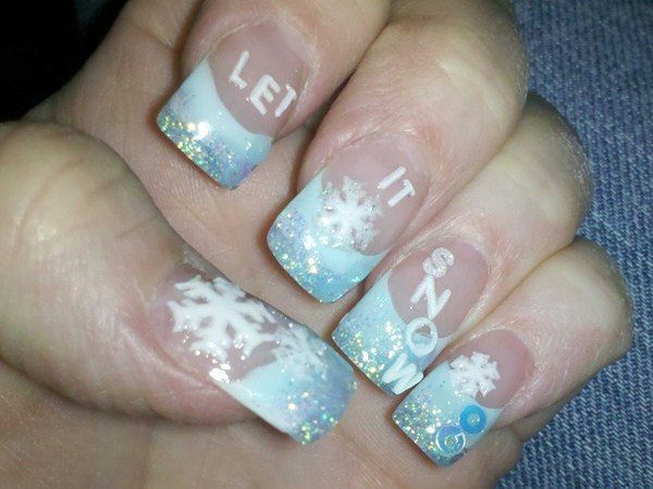 Plain Nails with Light Blue Glitter Tips, Snowflakes, and Let It Snow Wording