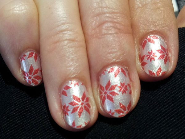 Silver Nails with Red Snowflakes