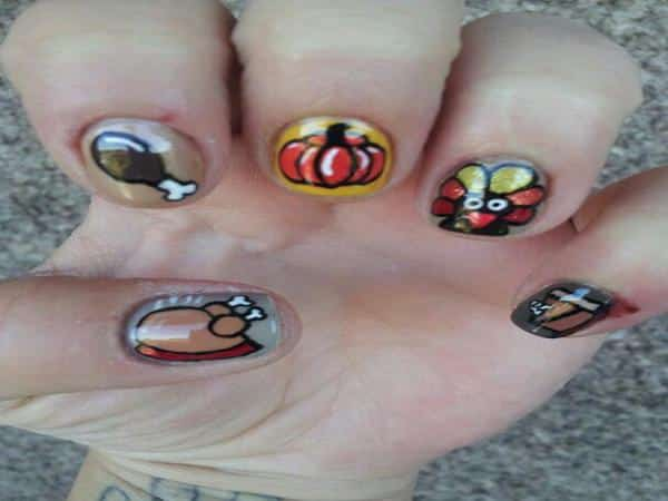 Silver and Gold Nails with Turkeys, Pumpkins, and Pie