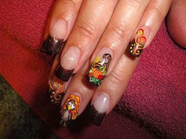 Brown Glitter Tipped Nails with a Cornucopia and Turkeys