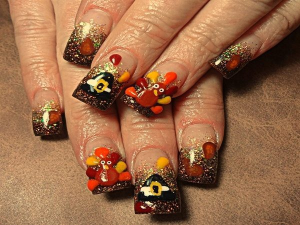 Plain Tips with Brown Glitter, Turkeys, and Pilgrim Hats