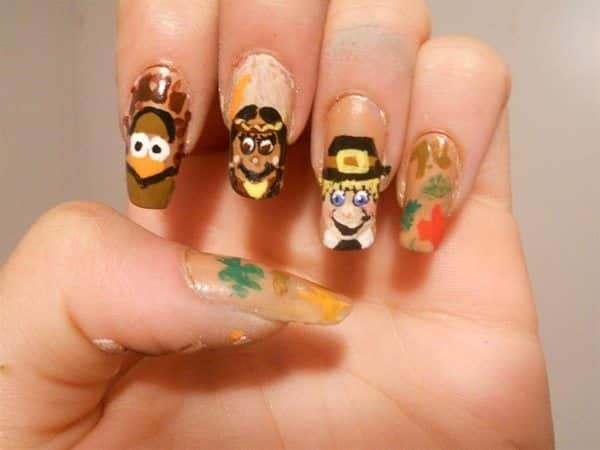 Plain Nails with Pilgrims, Indians, Turkeys, and Fall Leaves