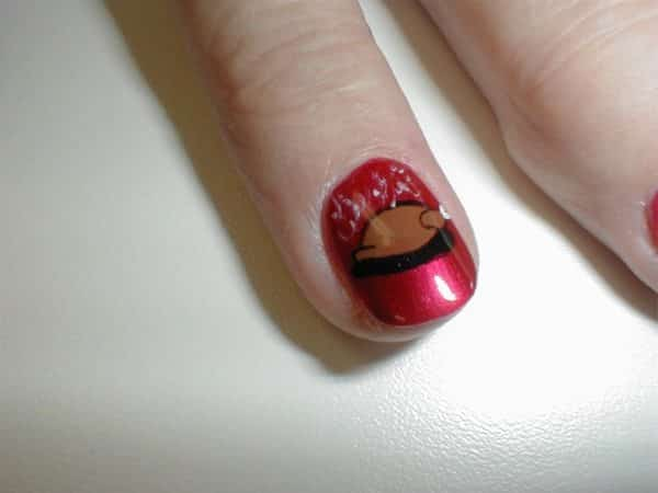 Maroon Nail with Cooked Turkey