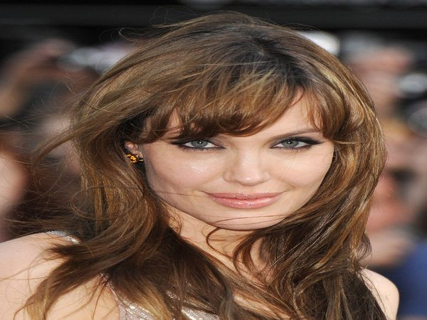 Angelina Jolie with Wind Swept Hair and Short Bangs