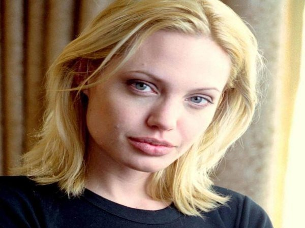 Angelina Jolie with Shoulder Length Blond Hair
