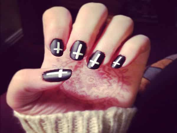 Black Nails with White Crosses