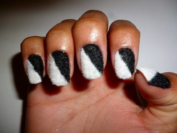 Half Black Half White Furry Nails