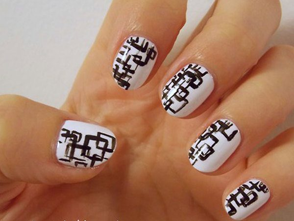 White Nails with Black Squares