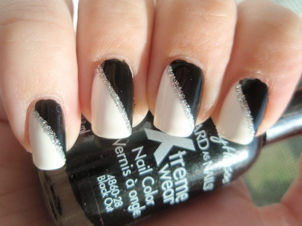 Half Black Half White Nails with Silver Stripe