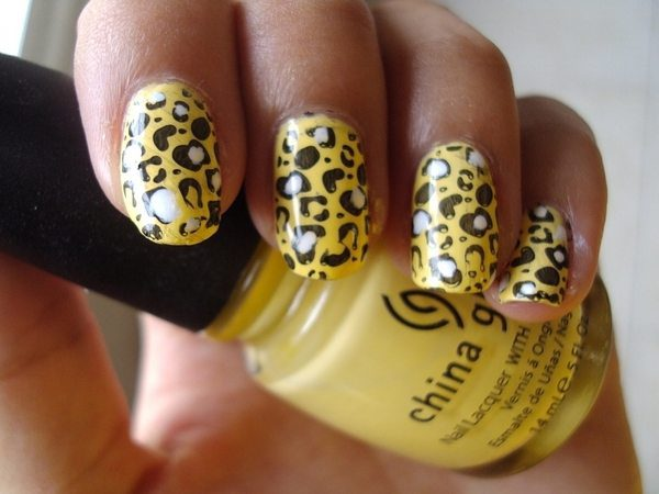Yellow Nails with Black and White Cheetah Spots