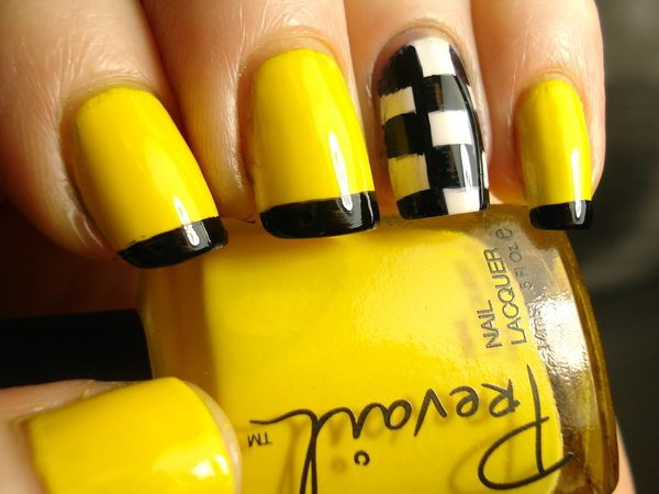 Yellow Nails with Black Tips and One Single White and Black Checkered Nail