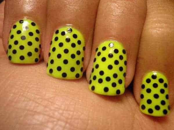Yellow Nails with Black Polka Dots