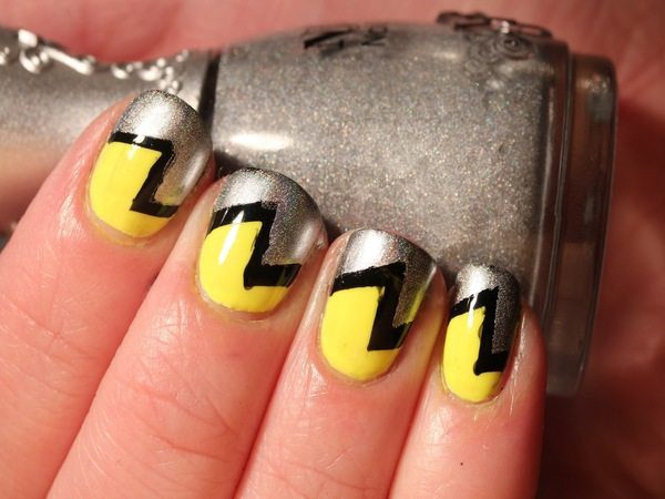 Black and Yellow Nails with Half Silver Designs