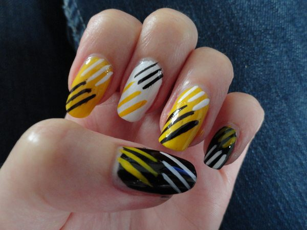 Yellow, Black, and White Striped Nails