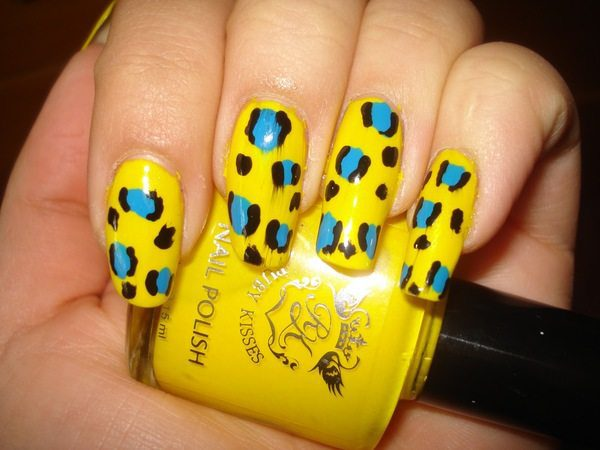 Yellow Nails with Black and Blue Cheetah Spots