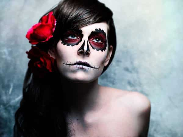 Dia De Los Muertos Long Hair with Side Swept Bangs with Roses