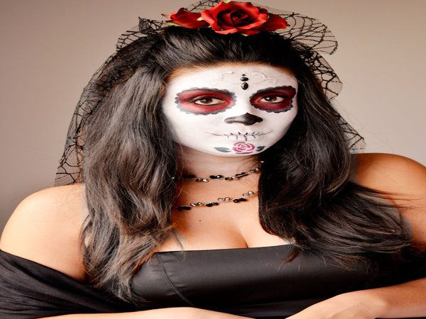 Dia De Los Muertos Long Hair In a Half Pony Tail with Veil and Red Rose