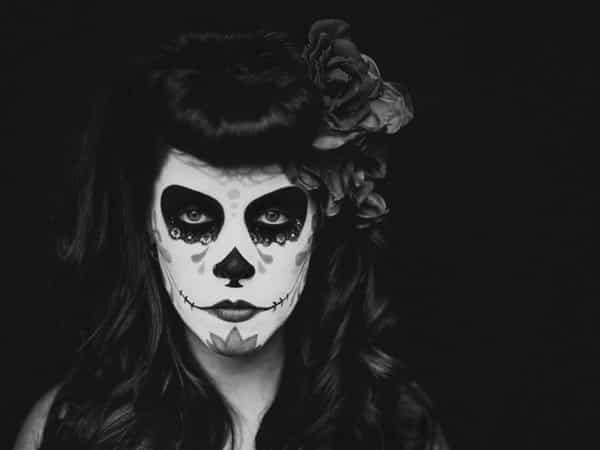 Dia De Los Muertos Long Hair with Curls and Round Bangs