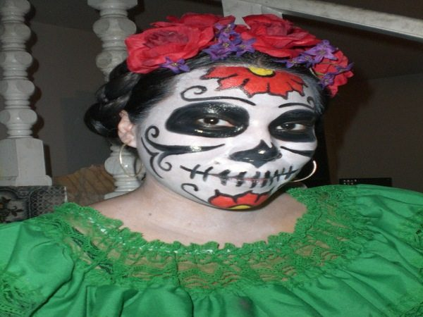 Dia De Los Muertos Braided Hairstyle with Front Roses