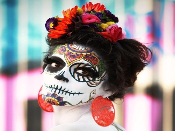 Dia De Los Muertos Wild Short Hairstyle with Side Flowers