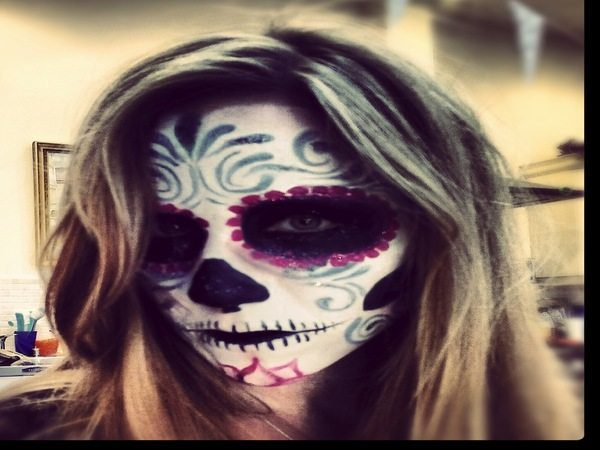 Dia De Los Muertos Blond and Black Stripped Hairstyle