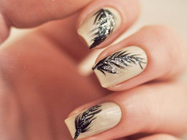 Tan Nails with Black Glitter Feathers