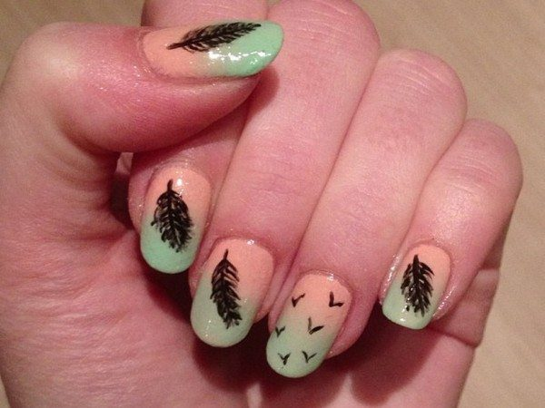 Half Pink Half Aquamarine Nails with Feathers and Birds