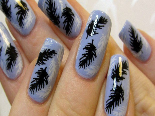 Purple Nails with White and Black Feathers