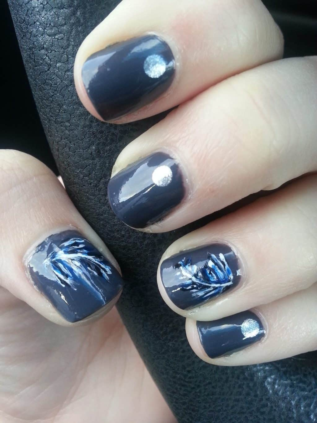 Dark Grey Nails with Blue Feathers and Rhinestones