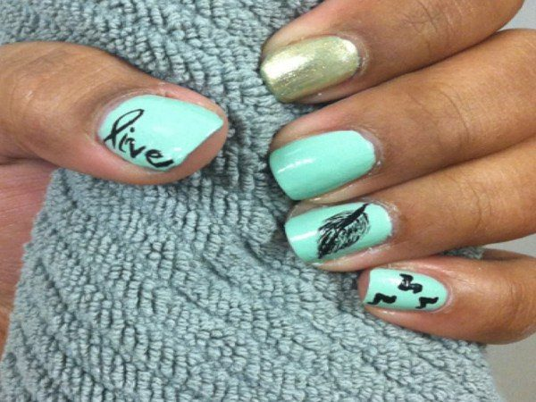 Light Blue Nails with Single Word, Single Feather, One Gold Nail, and Tiny Birds