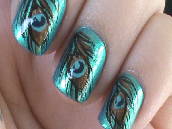 Metallic Blue Nails with Peacock Feathers