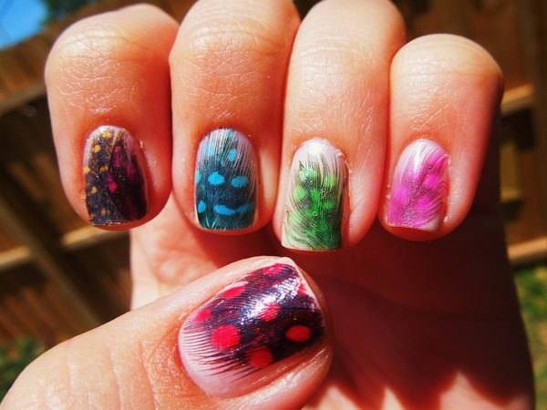 Rainbow Nails with Matching Feather Designs