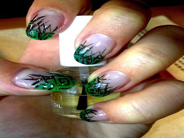 White Nails with Green and Black Decorated Tips