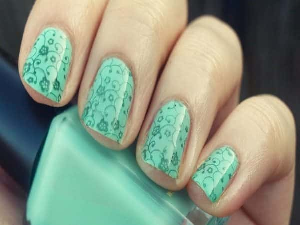 Light Green Nails with Flower and Vine Decorations