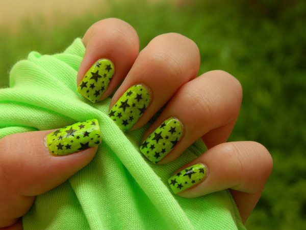 Neon Green Nails with Stars