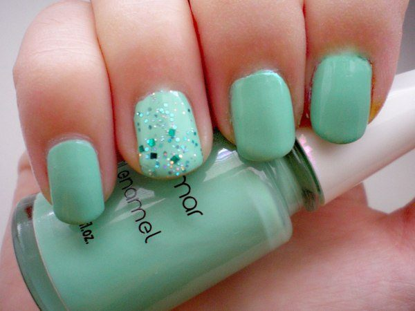 Mint Nails with Green Glitter