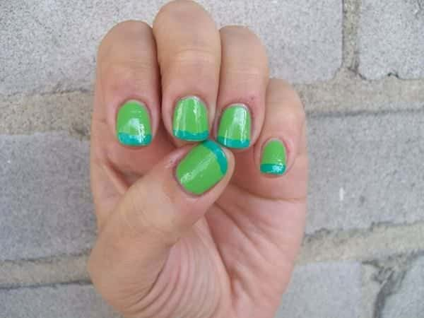 Lime Green Nails with Blue Tips