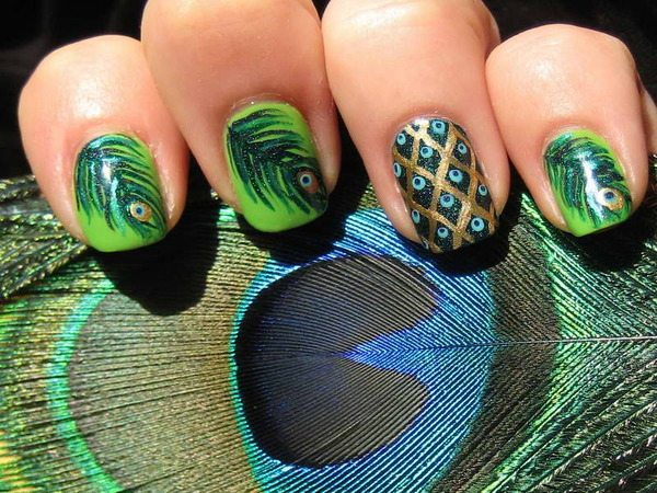 Avocado Green Nails with Peacock Feathers and Peacock Design