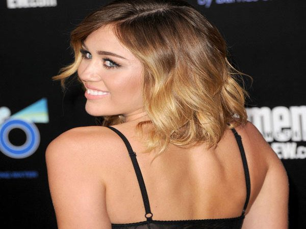 Miley Cyrus Shoulder Length Light Brown Curly Hair